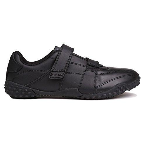 Lonsdale Kinder Jungen Fulham Turnschuhe Leder Sneaker Schuhe Klettverschluss Schwarz/Schwarz 4 (37)