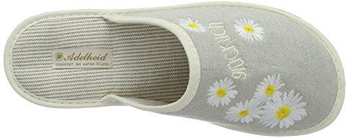 Adelheid Damen Glücklich Blume Stoffpantoffel Pantoffeln Grau (Mausgrau)