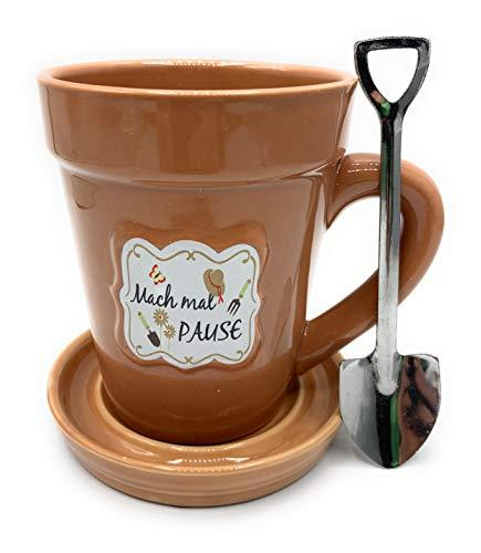 Tasse oder Pflanztopf Mach mal Pause 3 TLG Braun Glasiert im Geschenkset