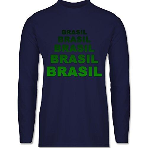 Shirtracer Länder - Brasil Fanshirt - Herren Langarmshirt Navy Blau