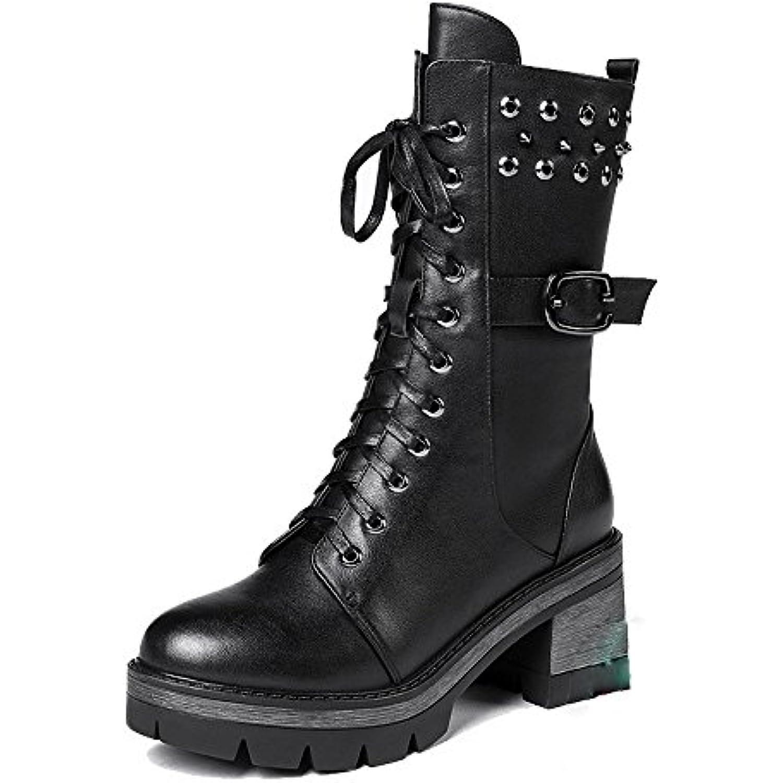 GTVERNH-Chaussures Bottes Martin Épais Hiver Hiver Hiver Chaud Et Beau Velvet Sangle Rivet Locomotive Bottes - B077HZ7YT6 - 4c0836