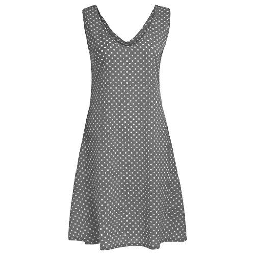 BHYDRY Frauen Polka Dot V-Ausschnitt Layered Sleeveless Pullover Bluse Long Shirt ()