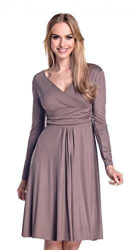Glamour Empire. Femme. Robe à taille froncée. Robe jersey manches longues. 890 Cappuccino