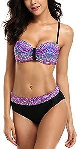 ALove Damen Geblümt Bandeau Bikini Mit Bügel Push Up Raffung Bikini Set Violett L