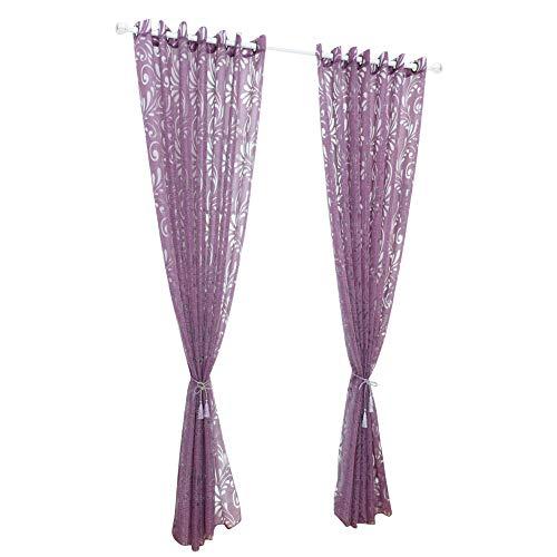 Abboard romantica tenda in tulle per finestra con motivo floreale decorazione per soggiorno, purple, 1m*2.5m punch hole