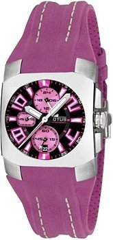 Watch LOTUS Women Crono Dial Fuchsia 30 mm Leather Strap Fuchsia. W.R. 50 Meters