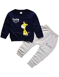 274098fcaa Baywell Kinder Baby Jungen Kleidung Sets Giraffe Print Langarmshirts  T-Shirt + Hosen Mädchen Kausal