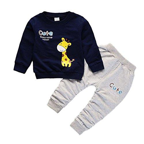 Blaward Baby Kleidung Jungen Mädchen Giraffe Cartoon Baumwolle Langarm T-Shirt + Hosen für Herbst Winter -
