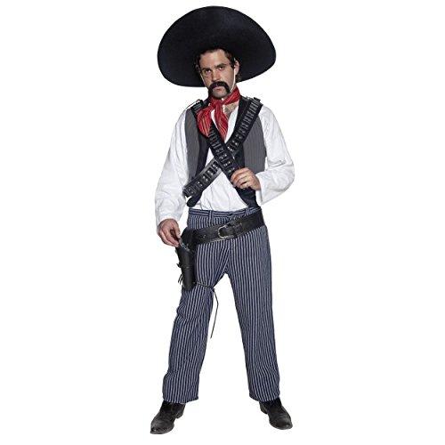 stern Mexikanische Bandit Cowboys Gun Slinger Fancy Dress Kostüm mit Bandeliere Gun Gürtel-Set (Western Bandit Kostüme)