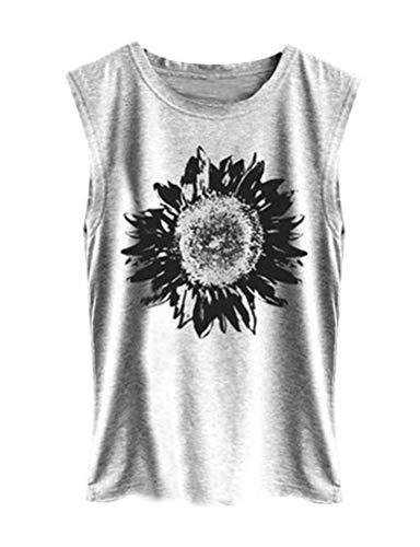 DRESSWEL Damen Weste Oberteile Sonnenblume Drucken Ärmelloses T-Shirt Rundhals Einfarbig Tank Top Cami Shirt -