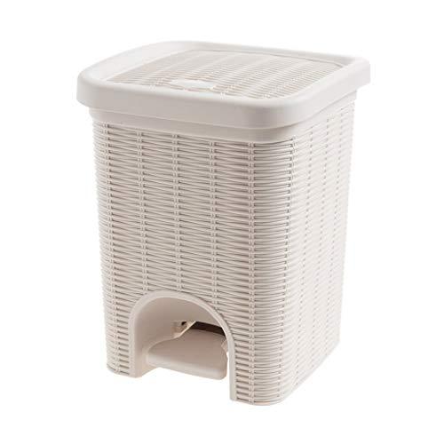 DZXM Trash Can Plastic Müll Aufbewahrungsbox Imitation Rattan Trash Bin Müllspeicher Pedal Gedeckten Papierkorb,White White Pedal Bin