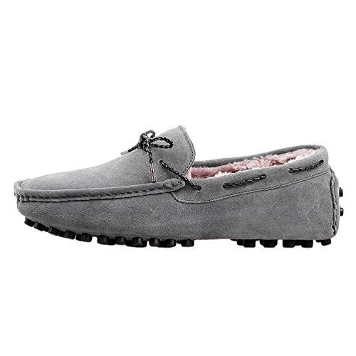 YiJee Loisirs Chaude Chaussures de Conduite Pour Hommes Chaussures Bateau Slip-on Mocassins Gris