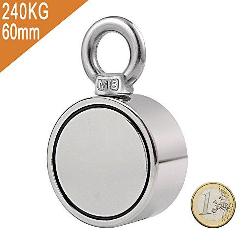 Uolor 240Kg Haftkraft Doppelseitig Neodym Ösenmagnet, Super Stark Power Magnete Perfekt zum Magnetfischen - Ø 60mm mit Öse Neodymium Topfmagnet