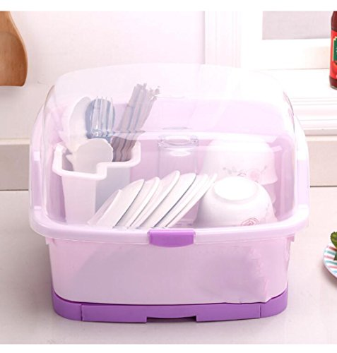 Drying Rack Sink Dish Drainer Cutlery Tableware Cup Organizer Storage Box with Draining Tray Cover,Purple,L