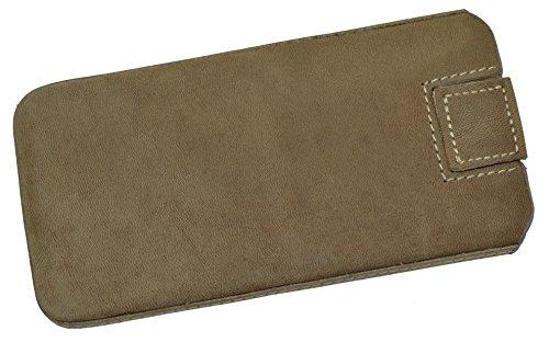 Original MTT Slim Case für Apple iPhone 5s / 5 Hardbox Leder Tasche Handytasche Ledertasche Schutzhülle Hülle Lasche mit Rückzugfunktion in wash-schwarz antik-braun