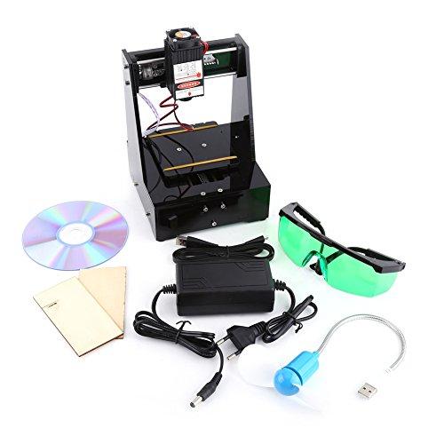 2000MW blauer Laser Graveur Drucker 7 × 7cm Mini-DIY USB Graveur CNC-Fräser, der Carver mit Schutzbrille 100-240V für win7, win8, win10, XP, schwarze Farbe schneidet (Laser-schneiden Leder Von)