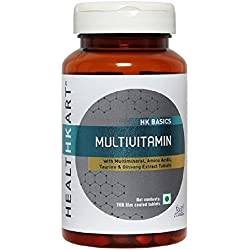 Healthkart Multivitamin with Ginseng extract, Taurine and Multimineral, Improves focus, alertness, stamina and immunity, 90 tablets