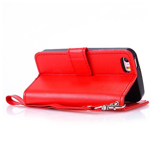 Leather Case Cover Custodia per iPhone 5 / 5G / SE ,Cozy Hut Caso / copertura / telefono / involucro del modello PU con a Bookstyle tasche carte di credito funzione con interno morbido in TPU Portafog Big Red