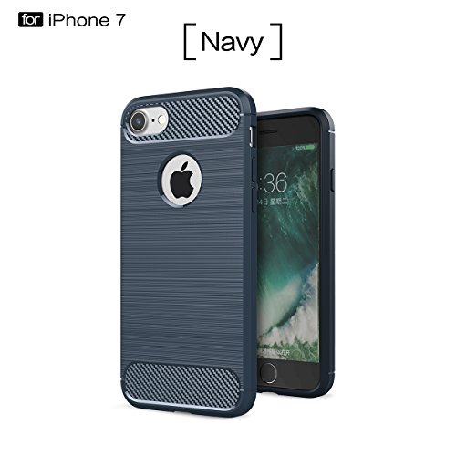 iPhone 7 (4.7 inches) Coque,COOLKE Fibre Carbone Soft TPU Shell Cover case Protection Etui Housse pour Apple iPhone 7 (4.7 inches) - Gris Saphir