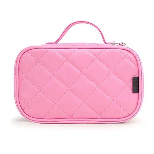 Multifunktional 2 Schicht Make Up Tasche schwarz Kosmetik Make-up-Pinsel Organizer mit Tragegriff für Reisen & Home (Rosa)