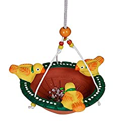 ExclusiveLane Terracotta Handpainted Bird Feeder For Garden -Wind Chimes Hanging Decorative Item Home Dcor Pieces