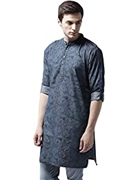 Style Quotient by NOI Men's Navy Blue Printed Pathani Long Denim Kurta, 100% Cottton, Occassion, Party and Casual Wear, Ethnic, Gift Idea for Men, Under 999