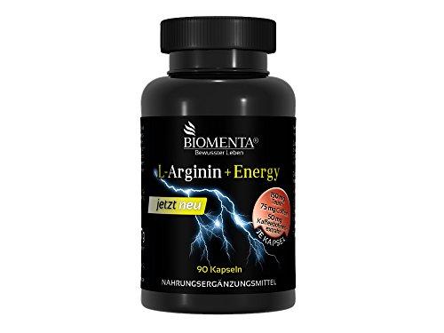 Biomenta L-Arginina + Energy - con L-Arginina, Caffeina, Taurina, Vitamina-C - 90 Capsule