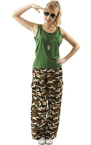 Meine Damen Camouflage Army Mädchen Soldat Militär Verkleidung Kostüm ()