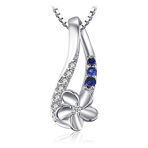 JewelryPalace Donna Gioiello 0.16ct Sintetico Blu Zaffiro Ciondolo di Fiore Collana con Pendente 925 Argento Sterling 45cm