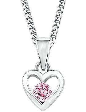 Prinzessin Lillifee Kinder-Kette mit Anhänger Herz längenverstellbar 925 Silber Sterling Zirkonia rosa