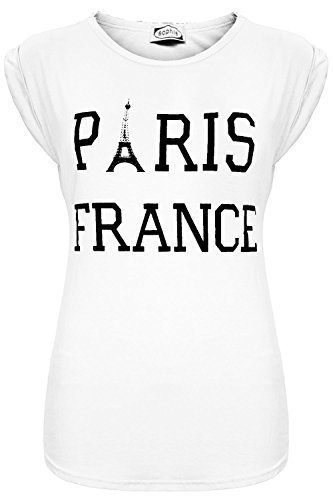 Oops Outlet Neu Damen Celebruty Paris Frankreich Bedruckt Stretch Dehnbar Shorts Gekrempelt Flügelärmel T-shirt Oberteile - Paris Frankreich weiß, Plus Size (UK 20/22) (Tee Fitted Womens Cap Sleeve)