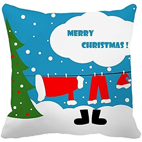 warrantyll Navidad Papá Noel ropa hogar sofá asiento cojín cuadrado manta funda de almohada cubierta, algodón, #Color 1, 18*18