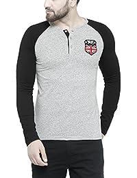 TSX Men's Henley Grey Solid T-shirt