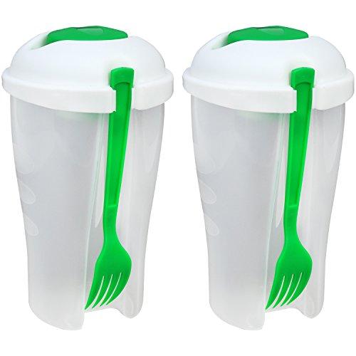 COM-FOUR® 2x Vaso de ensalada para llevar con tenedor y recipiente de vestir, contenedor de ensalada en el camino, taza de fruta (02 piezas - Ensaladera V2)