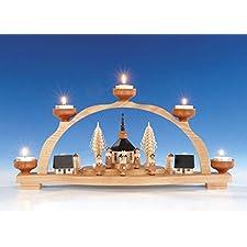 Mire al trasluz el arco + el arco ligero con la luz del té, arco ligero Seiffen de la vela del té de la iglesia 47 cm de Seiffen NUEVO