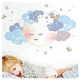 Little Deco Wandaufkleber Kinderzimmer Junge Mond & Wolken weiß blau I L - 98 x 49 cm (BxH) I Wandtattoo Baby Wandsticker Deko Zimmer DL244