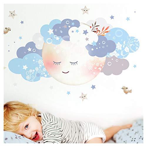 Little Deco Wandaufkleber Kinderzimmer Junge Mond & Wolken weiß blau I XL - 164 x 81 cm (BxH) I Wandtattoo Baby Wandsticker Deko Zimmer DL244