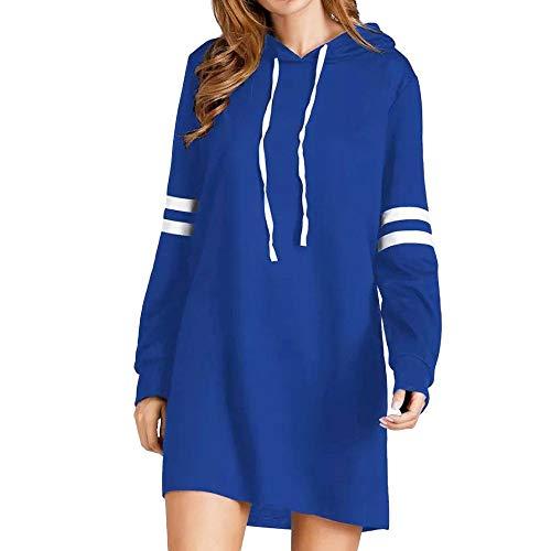 Damen Casual Kleider Langarmshirt Sweatshirt Pullover Hoodie Blouse Kleid Beiläufiges Langarm Minikleid T-Shirt Kleid Blusenkleid Kurzes Swing-Kleid