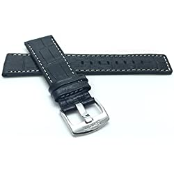 28mm, Black Genuine Leather Watch Band Strap, White Stitching, Also comes in Brown and Tan