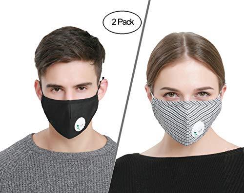 ACCOCO anti inquinamento maschera , riutilizzabili anti PM 2.5 Pollen maschera antipolvere, anti-appannamento anti polvere maschera antibatterico con filtro al carbone attivo (2 Masks + 4 filtri)