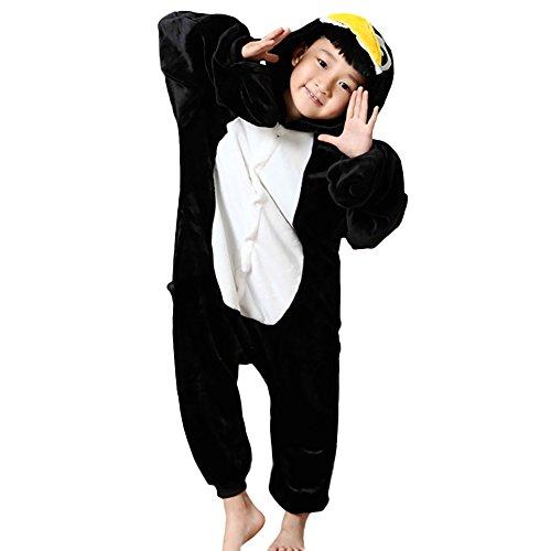 JT-Amigo Kinder Pyjama Strampler Schlafanzug Tier Kostüm für Halloween Karneval Fasching, Pinguin Kostüm, Gr. 128/134 (Herstellergröße (Kostüm Pinguin Baby)