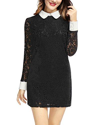 Allegra K Kontrastkragen Durchsichtlich Ärmel Spitze Mini Shift Kleid S (EU 38) (Schwarze Shift-kleider Für Frauen)
