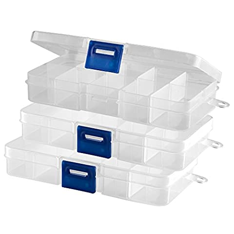 3Pieces Storage Box Clear (Empty) 10Boxes with Hinged Lid and Quick Release