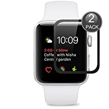 Apple Watch 42mm Protector de Pantalla,EUGO Cobertura Completa 9H Dureza Vidrio Templado Cristal Templado para Apple Watch Series 1/Series 2/ Series 3 42mm (Negro)
