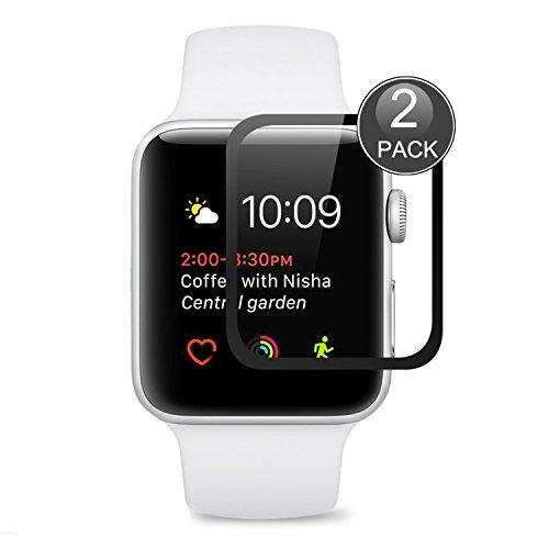 Apple Watch 42mm Protector de Pantalla,EUGO Cobertura Completa 9H Dureza Vidrio Templado Cristal Templado para Apple Watch Series 1/Series 2/ Series 3 42mm (Negro)
