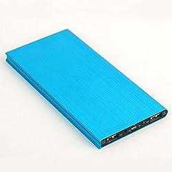 Dy Bingo Ultra-thin 20000mah High Capacity Dual USB Port External Portable Charger Battery Power Bank for Iphone 6 Plus 5 5s 4s Samsung Galaxy S6 S5 S4 S3 HTC One M7 M8 Nexus 4 Lg G3 Xiaomi Blue