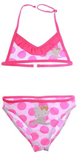 Charmmy Kitty Badeanzug 2Stück Neon gepunktet Kinder Mädchen 3bis 8Jahren Gr. 3 Jahre, Pois Blanc/Rose