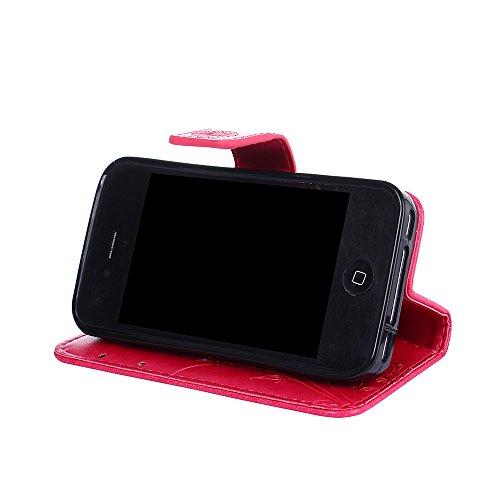 Custodia iPhone 4S, iPhone 4 Cover, ikasus® iPhone 4S/iPhone 4 Custodia Cover [PU Leather] [Shock-Absorption] Goffratura Fiore Farfalla e Datazione Ant Protettiva Portafoglio Cover Custodia colore pur Rosa caldo