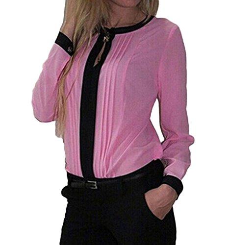 Bigood Top Chemise T-shirt Femme Blouse Mousseline de Soie Col Rond Manches Longues Casual Rose