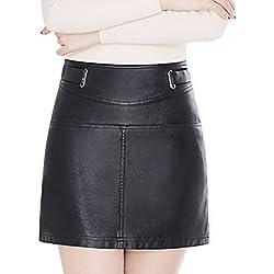 Helan Mujeres Breve cuero de la PU de la alta cintura mini faldas